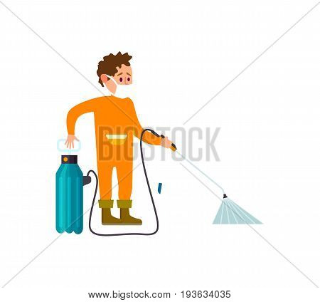 Farmer with garden knapsack sprayer icon. Agricultural farming vector illustration isolated on white background.