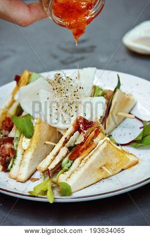 Beautiful Fresh Club Sandwich (a Common Type Of Sandwiches From New York)
