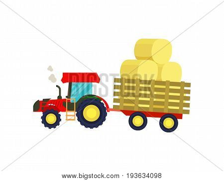 Tractor with balls of hay on trailer icon. Rural industrial farm equipment machinery, agricultural vehicle isolated vector illustration in flat design.