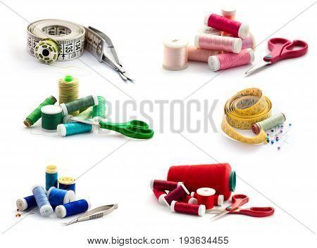 Sewing concept : tape, bobbin and embroidery scissor. Set isolated on white