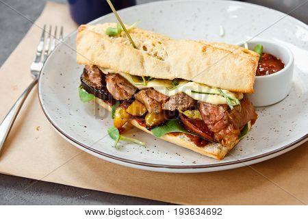 Beautiful Fresh Steak Sandwich On A White Plate