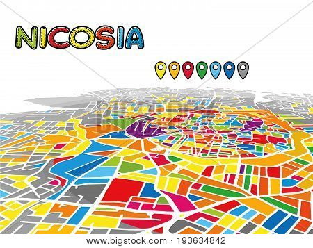 Nicosia, Cyprus, Downtown 3D Vector Map