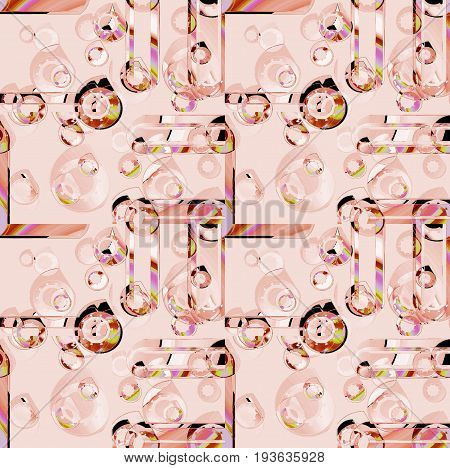 Abstract geometric seamless background. Regular intricate circles pattern pink and light brown overlaying.