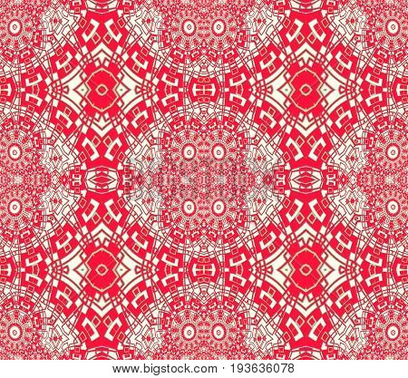 Abstract geometric seamless background. Regular intricate ornaments red and white, ornate and extensive.