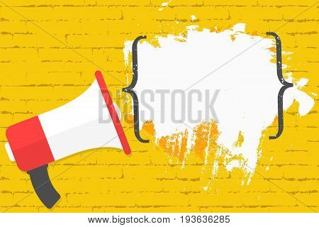 Megaphone On Brick Wall Background With Quotes. Space For Text, Quote, Advertisement
