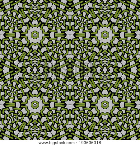 Abstract geometric seamless background, Regular intricate pattern green and black on light gray.