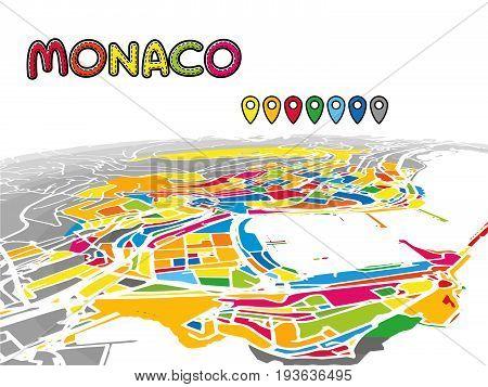 Monaco, Monaco, Downtown 3D Vector Map
