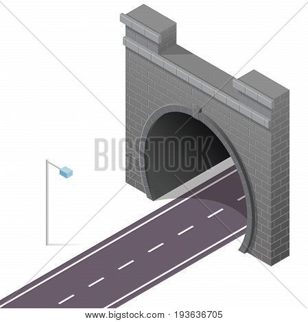 Vector low poly stone tunnel in isometric 3d perspective with asphalt road. Old stone gray circular tunnel with street light. Isolated highway on white background.