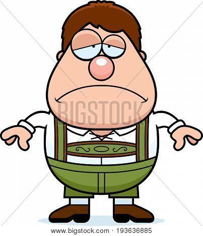 Cartoon Lederhosen Boy Sad