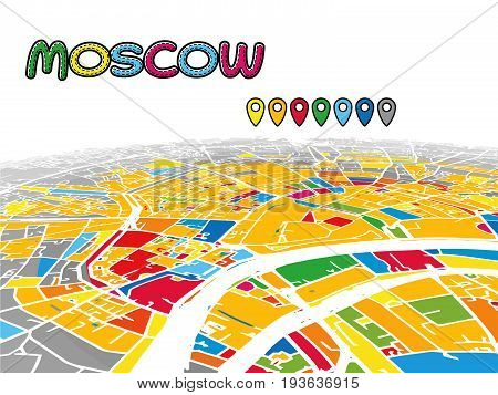 Moscow, Russia, Downtown 3D Vector Map