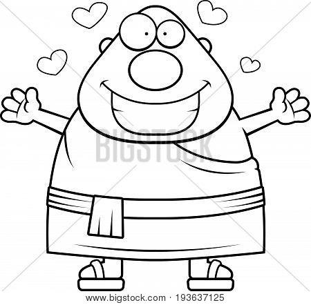 Cartoon Buddhist Monk Hug