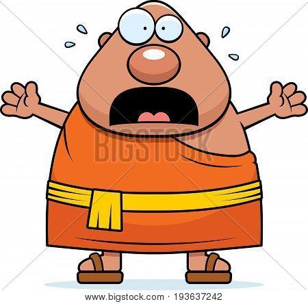 Scared Cartoon Buddhist Monk