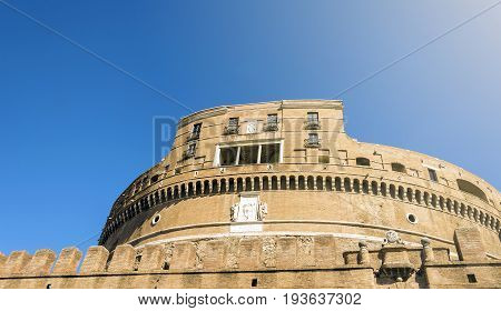 bottom view of Castel Sant Angelo in Rome Italy