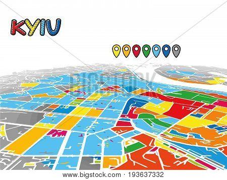 Kyiv, Ukraine, Downtown 3D Vector Map