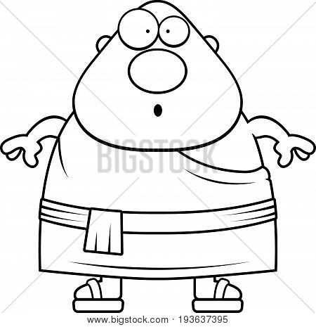 Surprised Cartoon Buddhist Monk