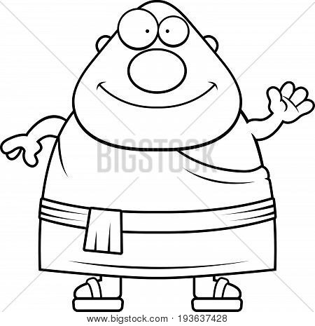 Cartoon Buddhist Monk Waving