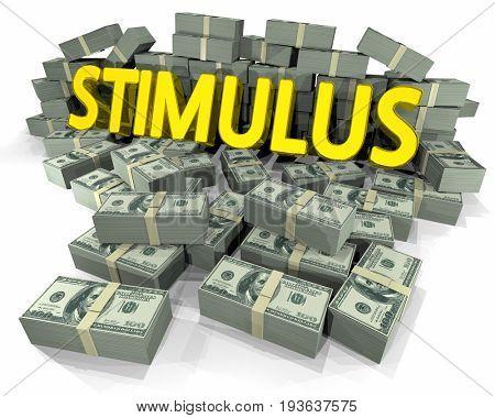 Stimulus Money Stacks Financial Help 3d Illustration