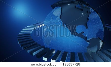 Blue Earth Technology, Business And Communications Background. Earth Globe Rotating With Plexus Part