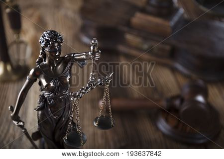 Law symbols, Themis. lawyer theme. Place for logo and typography.