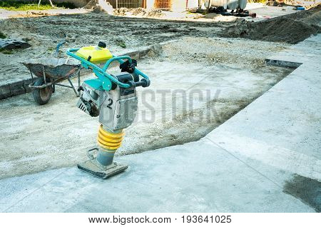 Industrial compactor on the construction site. Compactor machine.