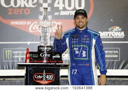 July 02, 2017 - Daytona Beach, FL, USA: Ricky Stenhouse Jr. (17) wins the Coke Zero 400 at Daytona International Speedway in Daytona Beach, FL.