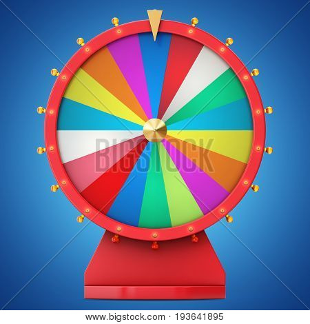 Realistic spinning fortune wheel, lucky roulette. Colorful wheel of luck or fortune. Wheel fortune isolated on blue tint background. 3d illustration