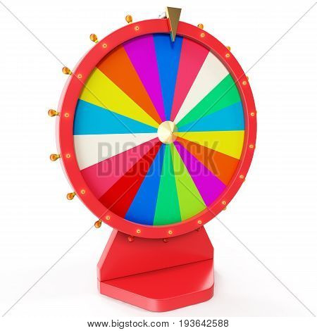 Realistic spinning fortune wheel, lucky roulette. Colorful wheel of luck or fortune. Wheel fortune isolated on white. 3d illustration