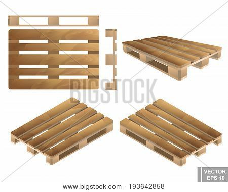 Set. Wooden Pallet. Realistic. From Different Angles Isolated On White Background.