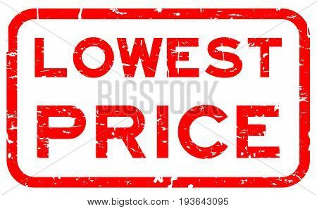 Grunge red lowest price square rubber seal stamp on white background