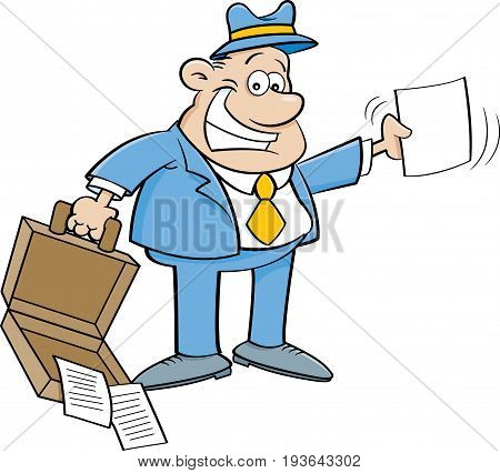 Cartoon illustration of a businessman holding an open briefcase and a paper.