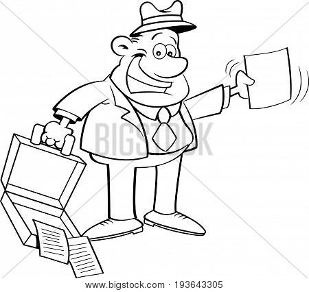 Black and white illustration of a businessman holding an open briefcase and a paper.