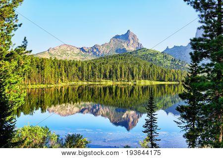 Mountain Peak And Clean Lake