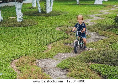 Little Boy On A Balance Bike. Caught In Motion, On A Driveway. Preschool Child's First Day On The Bi
