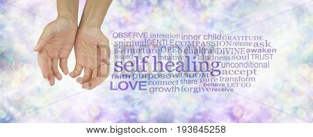 Self Healing Word Cloud - female hands in cupped position on a subtle  pastel multicolored bokeh background  with a purple SELF HEALING word cloud to the right