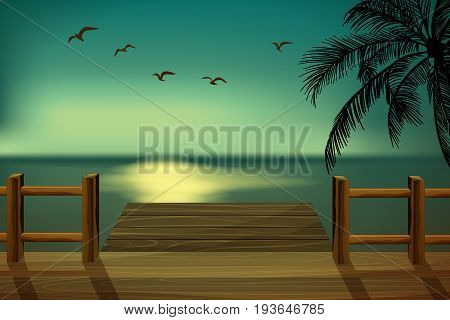Wooden pier overlooking the sea. Palm trees and pier at sunset. Vector Hello summer background