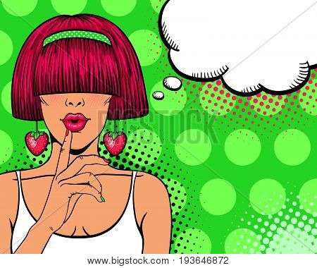 Wow pop art face. Sexy woman with pink hair open mouth and big earrings in form of strawberry holding hand near her lips. Vector colorful background in pop art retro comic style. Invitation poster.