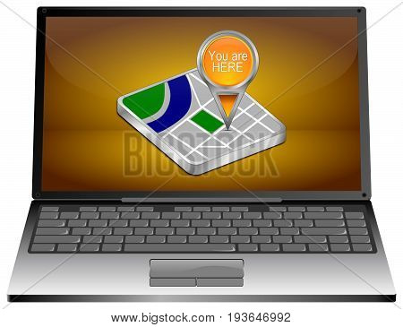Laptop Computer with You are Here Map Pointer on orange desktop- 3D illustration
