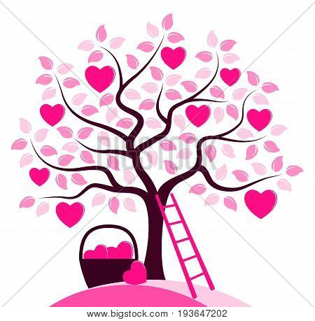 vector heart tree, basket of hearts and ladder isolated on white background