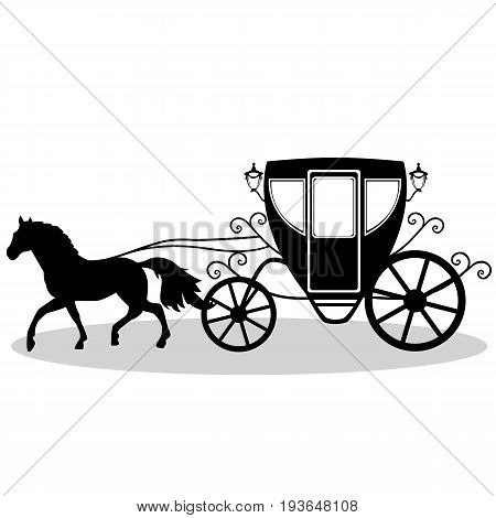 Wedding carriage. Decorative brougham. Coach. Vintage carriage with the horse isolated on white background. Also suitable for invitation card. Vector illustration.