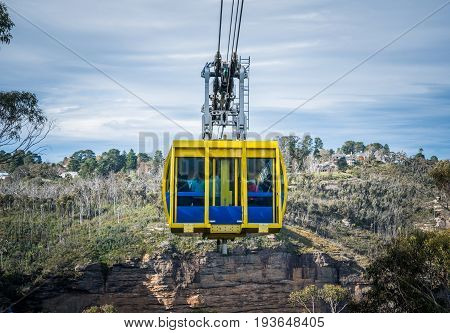 KATOOMBA, AUSTRALIA - MAY 30 2015 : The cable sky way tour at Blue mountains national park, New south wales, Australia.