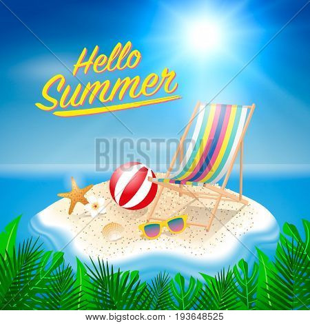 Hello Summer Background. Beach Island Background With Elements. Vector Illustration.