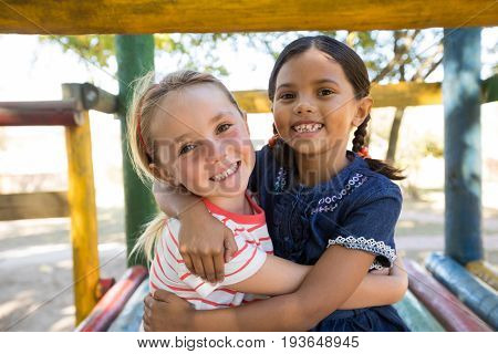 Portrait of happy girl embracing while sitting on jungle gym at plyaground