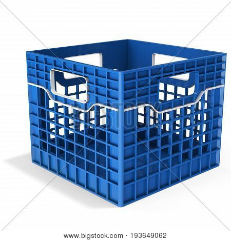 3D Empty Plastic Blue Crate
