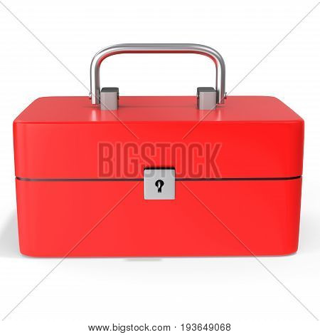 3D Red Toolbox, Classic Red Metal Toolbox