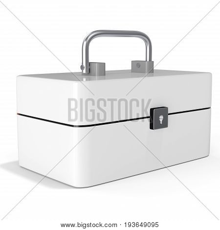 3D White Toolbox, Classic Red Metal Toolbox