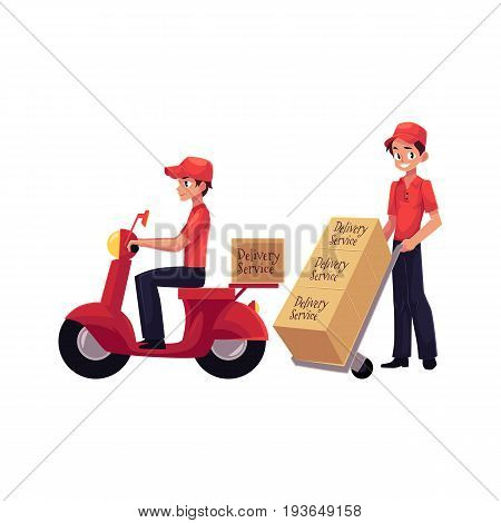 Courier, delivery service worker riding scooter, pushing dolly, hand cart with boxes, cartoon vector illustration isolated on white background. Full length portrait of young delivery service man