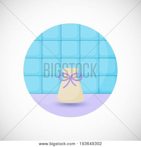 Aromatherapy sachet bottle vector flat icon Flat design of aromatherapy spa or healthcare object in the bathroom interior vector illustration with shadows
