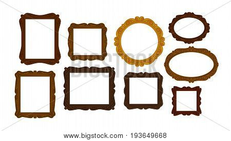 Collection of vintage wooden picture frames. Mirror, portrait, picture icon or symbol. Vector illustration isolated on white background