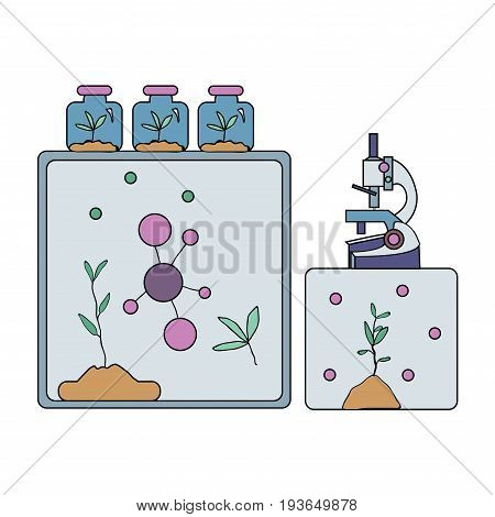 Biochemical laboratory equipment. Microscope, molecules, and laboratory plants. Vector illustration, isolated on white background