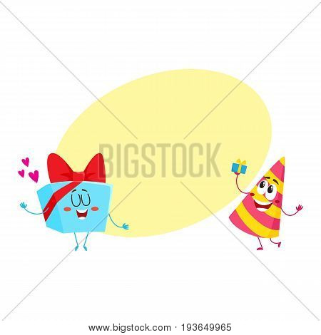 Smiling birthday party characters - striped hat and present, gift box, cartoon vector illustration with space for text. Funny birthday gift, present and party hat characters, mascots